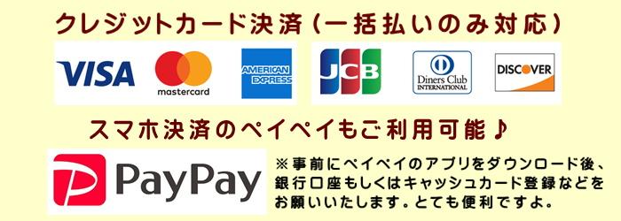 クレジットカード&PAYPAY利用可能
