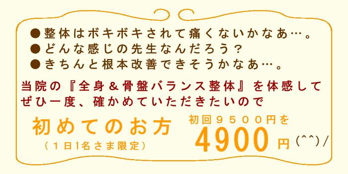 湘南ひらつか整体院の初回割引特典!当院の全身&骨盤バランス整体を体感して、ぜひ一度確かめていただきたいので、初めてのお方9500円を4900円とさせていただきます。